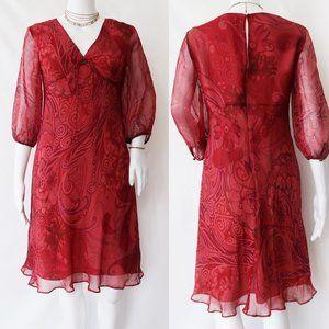 Adrianna Papell Petite Red Midi Silk Dress